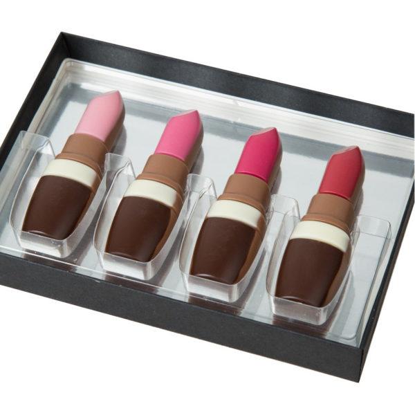 Coffret 4 rouges à lèvres en chocolat