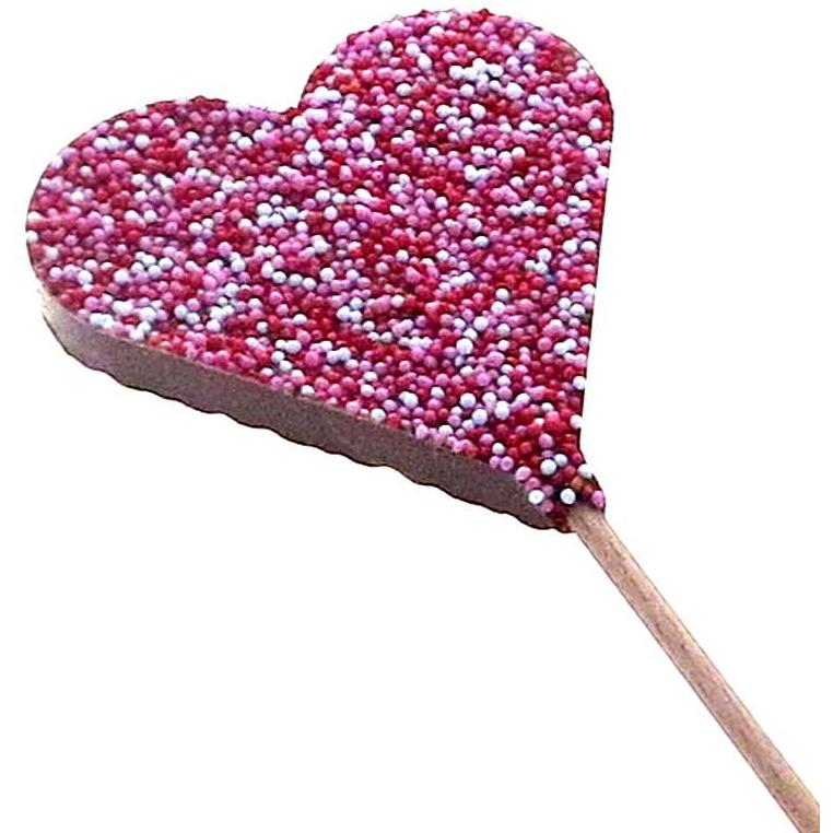 Sucette cœur chocolat lait décorée