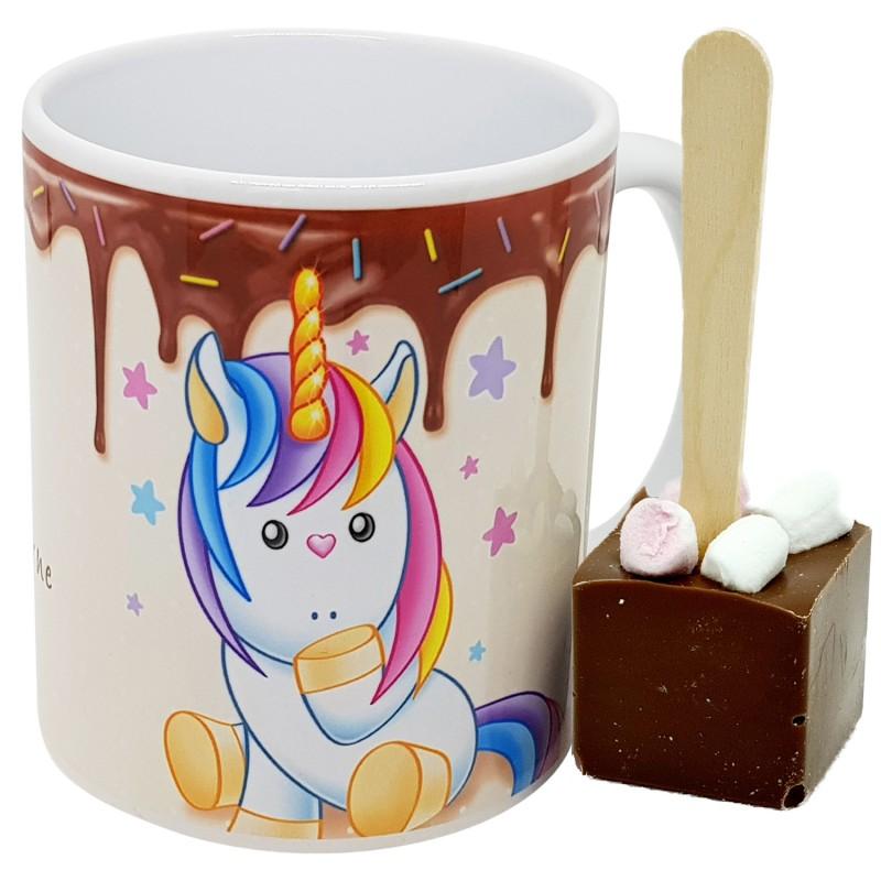 mug licorne cuillère en chocolat au lait mini guimauve
